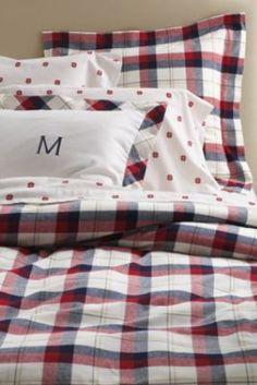 5-oz Flannel Mariner Plaid Duvet Cover or Sham from Lands' End