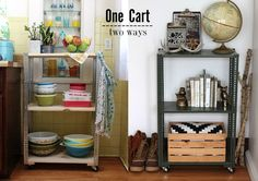 Cheer Up Your Rented Home!   4. DIY SHELVING UNIT: 2 WAYS - This project is a great way to create instant open storage (that\'s pretty too!) in your rented space.