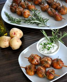 Smoked Potato with Bacon and Rosemary on a Stick