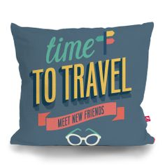 Cushion Cover TIME TO TRAVEL by Sticky!!!