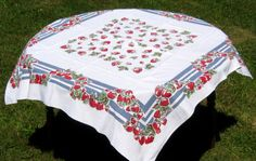 Pretty strawberry tablecloth