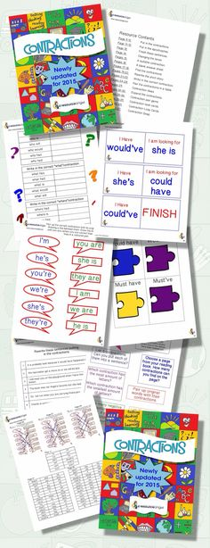 Contractions grade 2 to 4. Printables for journals.