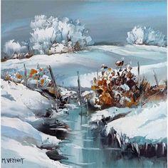 Galerie Art Sud - Le ruisseau glacé Watercolor Trees, Watercolor Landscape, Landscape Art, Landscape Paintings, Watercolor Paintings, Watercolors, Painting Snow, Winter Painting, Winter Art