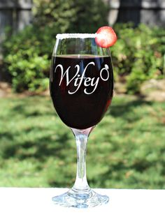 Wifey Wine Glass or Pilsner with wedding ring & by ScissorMill