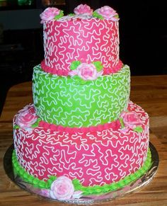 Hot Pink & Lime Green Wedding Cake | awesome cakes | awesome cakes ...