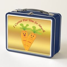 Cartoon carrots with big eyes and a smile to go metal lunch box - kitchen gifts diy ideas decor special unique individual customized