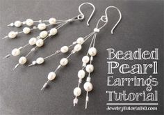 Free jewelry tutorial: Beaded Pearl Earrings from JewelryTutorialHQ.com a ton of video tutorials on this site