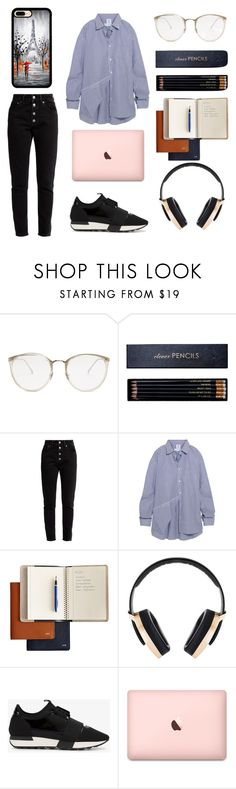 """Rich kid 👼👼study at library"" by cilphandethuong ❤ liked on Polyvore featuring Linda Farrow, Sloane Stationery, Balenciaga, Vetements, Mark & Graham and Pryma"