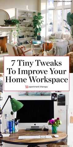 There are a lot of small, easy tweaks you can make to turn your home into a focus-friendly workspace. Read on for seven foolproof ideas for creating a better WFH environment. Small Workspace, Workspace Design, Tiny Office, Word Office, White Office, Desk Office, Bedroom Office, Office Ideas For Work, Tiny Studio Apartments
