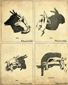 "Antique Print ""Shadow Animals"" Shadow Puppets - Vintage Illustration Print - Victorian Children Hands Silhouette. $25.00, via Etsy."