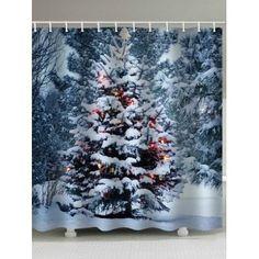 Christmas Tree Snow Pattern Curtain - multicolor X INCH Christmas Shower Curtains, Cheap Shower Curtains, Christmas Bathroom, Bathroom Curtains, Christmas Bells, Christmas Home, Christmas Decorations, Cheap Bathroom Accessories, Hookless Shower Curtain