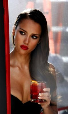 Jessica Alba. Red Lipstick and Dark Hair