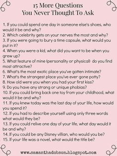 Questions for getting to know someone deeply