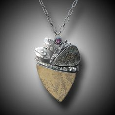DENDRITE LIMESTONE  Necklace Sterling Silver Rainbow by xaosart, $475.00
