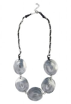 Save 50% - Was £27.00 - Now £13.50  A lightweight, summer necklace made from coconut shell; the oval pendants feature a subtle engraved design. A great statement necklace.