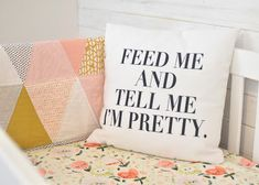 Hello Baby Brown: Phayre's Nursery Tour. A shabby chic girls nursery. Pink, white, and mustard.  Reclaimed wood wall.  Feed me and tell me I'm pretty pillow.