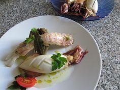 Calamar   farci  de  pommes de  terre   au thon  cigale   de  mer    et  sauce   au citron Gino D'Aquino