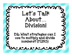 This is a collection of slides or handouts (how ever you prefer to use them) that introduces students to strategies used to model division. It include! OMG for next year.because you can't teach long division in a day Everyday Math! Math Strategies, Math Resources, Math Activities, Teaching Long Division, Math Division, Teaching First Grade, Teaching Math, Homeschool Math, Homeschooling