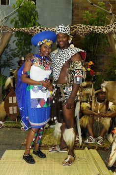 Bride and groom at a traditional Zulu wedding. Zulu Traditional Wedding, African Traditional Wear, Traditional Outfits, South African Weddings, Nigerian Weddings, Zulu Wedding, Wedding Unique, Wedding Ideas, African Love