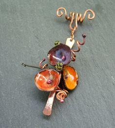 """torch-fired enamel """"poppy pendant"""""""