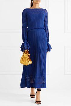 Oscar de la Renta - Fluted Stretch-knit Maxi Skirt - Blue