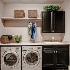 82 Laundry Room Ideas – Ways To Organize Your Laundry Room Dark cabinets white top