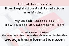 Reading and Understanding Canadian Legislation and Regulations Canadian Law, Law Books, University Life, Learn To Read, Ottawa, Toronto, Kindle, Ebooks, Pdf