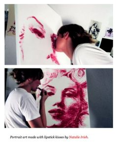 Portrait art made with lipstick kisses by Natalie Irish. Very talented.
