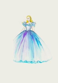 """The gown has to look lovely when she's running. I wanted it to look like a watercolor painting. There were layers there of the finest fabric in different colors so when she moves, they move in a water-like fashion."" -Sandy Powell, Cinderella costume designer"