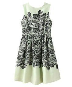 Lace Sleeveless Print Dress