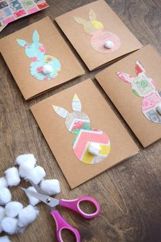 Learn how to make easy and cute Easter Bunny cards using vintage themed card stock, cotton balls and Mod Podge.