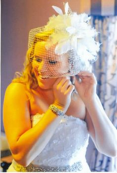 Erin Cole birdcage veil, floral veil, short veil, bride fashion, curly blonde hair, bridal accessories, wedding hair and makeup