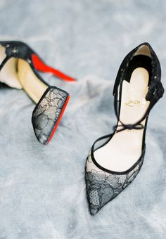 Sexy black lace Louboutins: http://www.stylemepretty.com/2016/03/03/old-world-italian-inspired-shoot-in-napa-wedding-inspiration/ | Photography: Sally PInera - http://sallypinera.com/