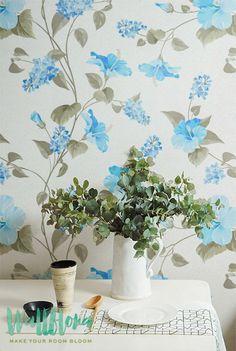 Hibiscus Wallpaper | Removable Wallpaper | Hawaiian Wallpaper | Exotic Wall Sticker | Hawaiian Wall Decal | Hibiscus Adhesive Wallpaper