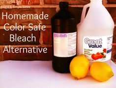 Bleach Alternative:  -1 1/2 Cups of Hydrogen Peroxide  -1/2 Cup White Vinegar  - 1/2 Cup Lemon Juice  -Gallon jug of water     Here is how to make your own...    Add hydrogen peroxide, vinegar, and lemon juice to a gallon jug. Fill the rest of the way with water. Add 1 cup to your wash and you will have softer and brighter clothing! It really works wonderfully...and hardly costs anything! I love that!