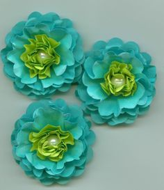 Tiffany Blue and Lime Green Peony Paper Flowers Tropical Colors. $3.30, via Etsy.