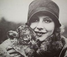 historiful:  Actress Greta Garbo (1905-1990), with a furry companion, date unknown.