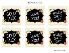 Free Back to School Printables + Extras #freeprintables #backtoschool  #lunchnotes
