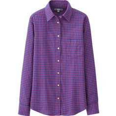 UNIQLO Women Flannel Check Long Sleeve Shirt ($25) ❤ liked on Polyvore featuring tops, pocket shirt, slim fit button down shirts, slim fit shirts, button down shirts and long sleeve button up shirts