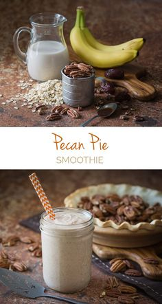 Pecan Pie Smoothie - A MUST-TRY for smoothie lovers! (Or pecan pie lovers). Sweetened naturally with Medjool dates. For a little extra treat throw in frozen bananas to give it the texture of ice-cream.