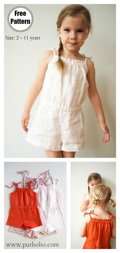Jul 2019 - Summer Girl Romper Free Sewing Pattern is wonderful project to DIY Summer Clothing for your little girls. The Rompers are so fashionable and comfortble. Toddler Sewing Patterns, Tunic Sewing Patterns, Sewing Kids Clothes, Baby Clothes Patterns, Toddler Clothes Diy, Little Girl Dress Patterns, Pattern Sewing, Pattern Dress, Pants Pattern