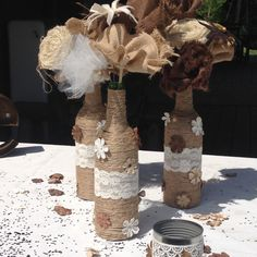 Neutral Twine Wrapped Wine Bottles Country Chic Wedding