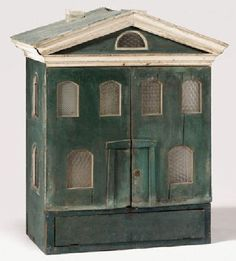 Nice old dollhouse, simple in design and old colors. .....Rick Maccione-Dollhouse Builder www.dollhousemansions.com