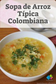 Si quieres probar una sopa típica colombiana, llena de sabor y nutrientes, te invitamos a probar esta sopa de arroz, una receta deliciosa que además de ser muy fácil de preparar es ideal para cualquier día de la semana.  Ingredientes para 4 porciones    200 gramos de arroz para sopa 1 libra y media de callo de res o menudo 1 libra de papa blanca 1 libra de papa criolla 1 zanahoria 1 cebolla larga ½ libra de arvejas 1 diente de ajo Cilantro Sal Lunches And Dinners, Meals, Colombian Food, Colombian Recipes, Vegan Recipes, Cooking Recipes, Crock Pot Soup, Cooking Time, Food Hacks