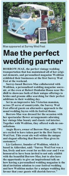 Lovely article in the Farnham Herald about Mae and I exhibiting together at the Surrey Wed Fest.