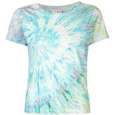 Saint Laurent Tie Dye Tee ($490) ❤ liked on Polyvore featuring tops, t-shirts, tie dyed t shirts, blue tie dye t shirt, tye dye t shirts, tie-dye tops and tie dye t shirts