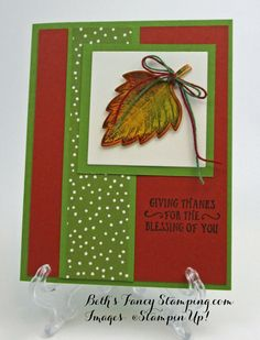 The leaves have begun to turn here in North Georgia and because of the drought we are in, they have been falling off for weeks. I found this card on Pinterest done by Dawns Stamping …
