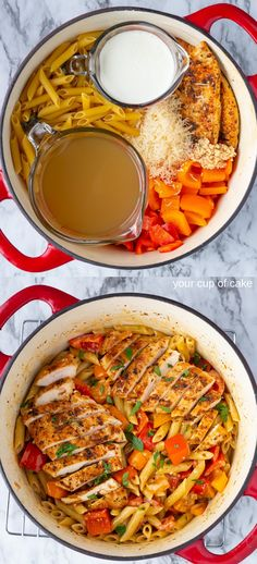 My favorite one pot recipe that's done in less than 30 minutes! One Pot Creamy Cajun Chicken Alfredo is the perfect easy dinner recipe for your family! Side Dish Recipes, Lunch Recipes, Easy Dinner Recipes, Pasta Recipes, Chicken Recipes, Turkey Recipes, Yummy Recipes, Dinner Ideas, Yummy Food