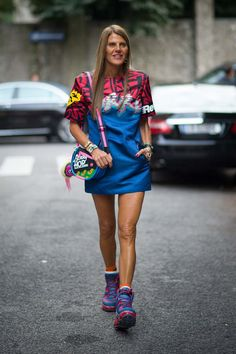 Anna Dello Russo rocking her signature clashing bright colours at Milan Fashion Week Spring 2015.