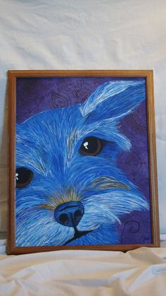 Blue Border Terrier with purple background  acrylic  by SLGallery, $200.00